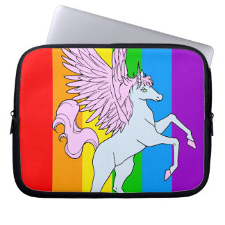 Corey Tiger 80s Unicorn Rainbow Computer Sleeve
