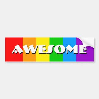 Corey Tiger 80s Vintage Awesome Rainbow Bumper Sticker