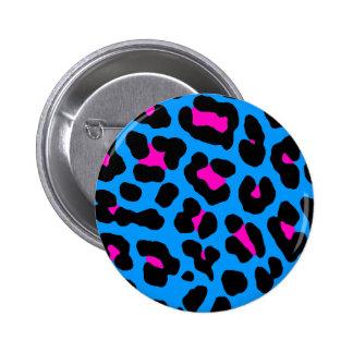 Corey Tiger 80s Vintage Blue Leopard Pinback Button