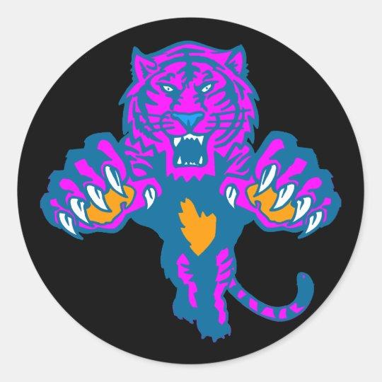 Corey Tiger 80s Vintage Fierce Pouncing Tiger Classic Round Sticker