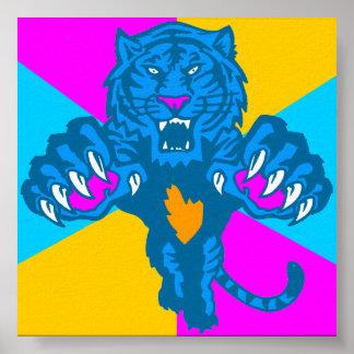 Corey Tiger 80s Vintage Fierce Pouncing Tiger Poster