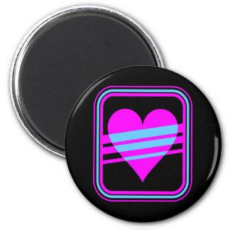Corey Tiger 80s Vintage Heart & Stripes 2 Inch Round Magnet