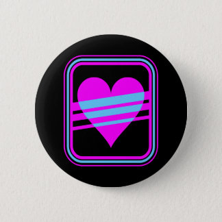 Corey Tiger 80s Vintage Heart & Stripes Button