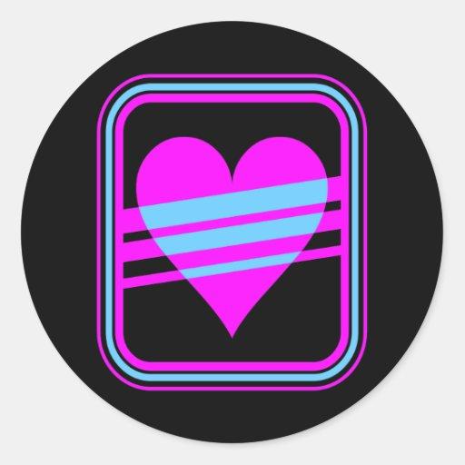 Corey Tiger 80s Vintage Heart & Stripes Classic Round Sticker