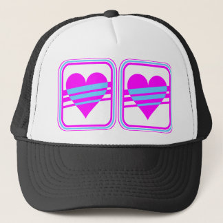 Corey Tiger 80s Vintage Heart & Stripes Trucker Hat