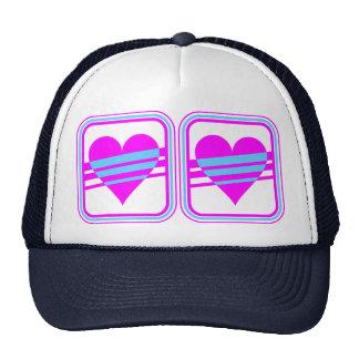 Corey Tiger 80s Vintage Heart & Stripes Trucker Hat