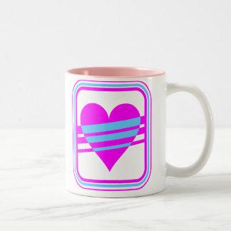 Corey Tiger 80s Vintage Heart & Stripes Two-Tone Coffee Mug