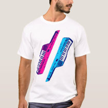 Corey Tiger 80s Vintage Keytar Pink & Blue T-Shirt
