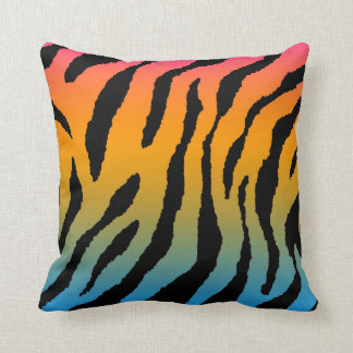 Corey Tiger 80s Vintage Neon Animal Stripes Throw Pillow