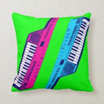 Corey Tiger 80s Vintage Neon Keytar Throw Pillow