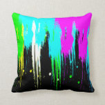 Corey Tiger 80s Vintage Neon Paint Drip Throw Pillows