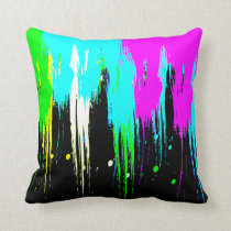 Corey Tiger 80s Vintage Neon Paint Drip Throw Pillow