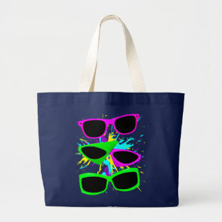 Corey Tiger 80s Vintage Neon Sunglasses Splatter Large Tote Bag