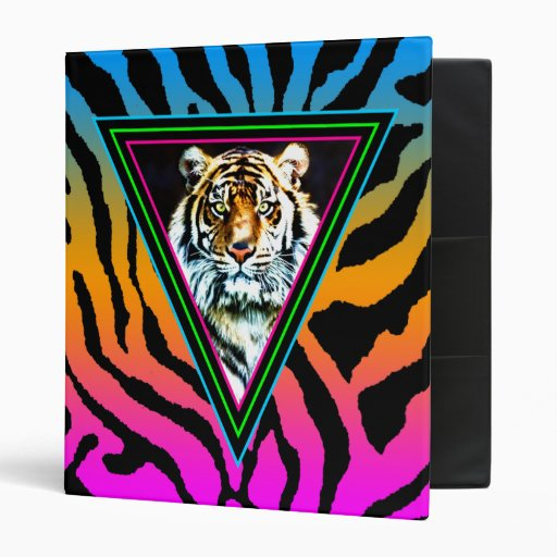 Corey Tiger 80s Vintage Neon Tiger Face Binder