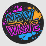 Corey Tiger 80s Vintage New Wave Neon Splatter Round Stickers