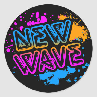 Corey Tiger 80s Vintage New Wave Neon Splatter Round Stickers