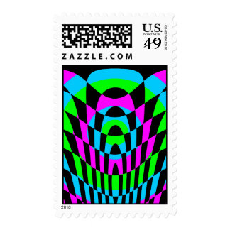 Corey Tiger 80s Vintage Op Art Postage Stamps