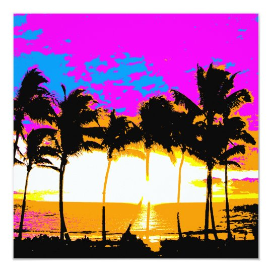 Corey Tiger 80s Vintage Palm Trees Sunset Card