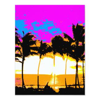 Corey Tiger 80s Vintage Palm Trees Sunset Card