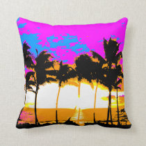 Corey Tiger 80s Vintage Palm Trees Sunset Throw Pillow