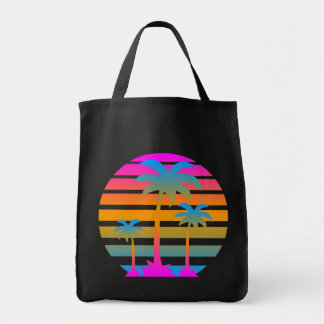 Corey Tiger 80s Vintage Palm Trees Sunset Tote Bag