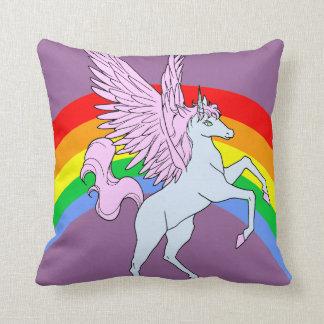 Corey Tiger 80s Vintage Rainbow Unicorn Throw Pillow