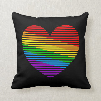 Corey Tiger 80s Vintage Retro Rainbow Love Heart Throw Pillow