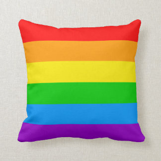 Corey Tiger 80s Vintage Retro Rainbow Stripes Throw Pillow