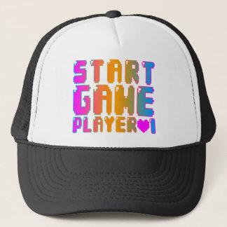 Corey Tiger 80s Vintage Start Game Player 1 Trucker Hat