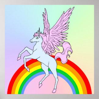 Corey Tiger 80s Vintage Style Unicorn Rainbow Poster