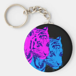 Corey Tiger 80s Vintage Twin Tigers Basic Round Button Keychain