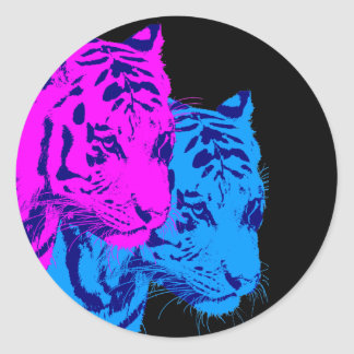Corey Tiger 80s Vintage Twin Tigers Round Stickers