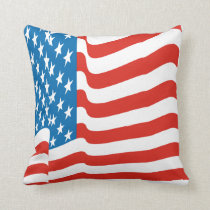 Corey Tiger 80s Vintage Waving US American Flag Throw Pillow