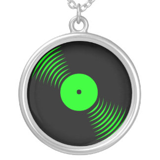 Corey Tiger 80s Vinyl Record Necklace (Green)