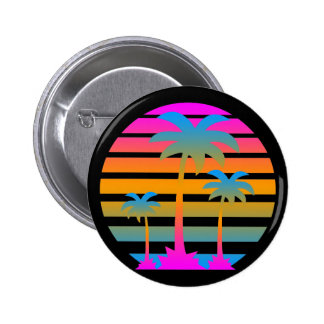 COREY TIGER RETRO SUNSET PALM TREES 2 INCH ROUND BUTTON