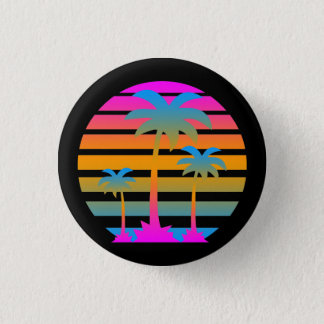 COREY TIGER RETRO SUNSET PALM TREES BUTTON