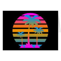 COREY TIGER RETRO SUNSET PALM TREES CARD