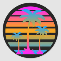 COREY TIGER RETRO SUNSET PALM TREES CLASSIC ROUND STICKER