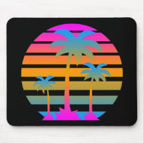 COREY TIGER RETRO SUNSET PALM TREES MOUSE PAD
