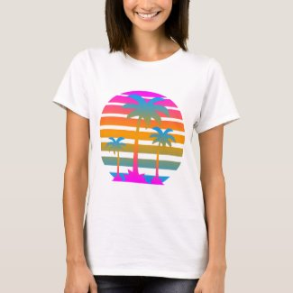 Retro Sunset and Palms 80s T-shirt for Adults