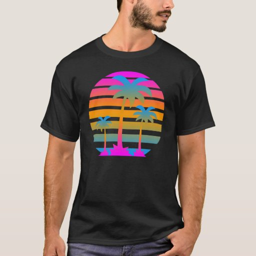 Corey tiger retro sunset palm trees t shirt zazzle for T shirt printing santa barbara