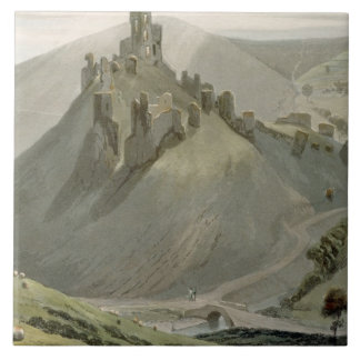 Corfe Castle, from 'A Voyage Around Great Britain Tile