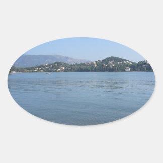 Corfu Coast Oval Sticker