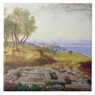 Corfu from Ascension, c.1856-64 (oil on canvas) Ceramic Tile