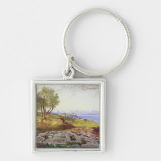 Corfu from Ascension, c.1856-64 (oil on canvas) Keychain