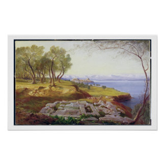 Corfu from Ascension, c.1856-64 (oil on canvas) Poster