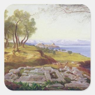 Corfu from Ascension, c.1856-64 (oil on canvas) Square Sticker