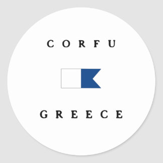 Corfu Greece Alpha Dive Flag Classic Round Sticker