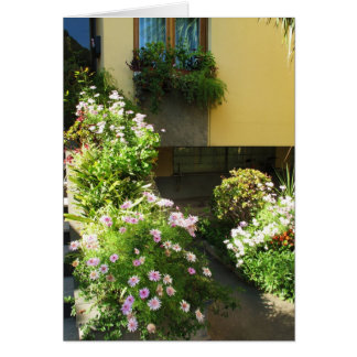 Corfu Greece Old Town Flowers Card