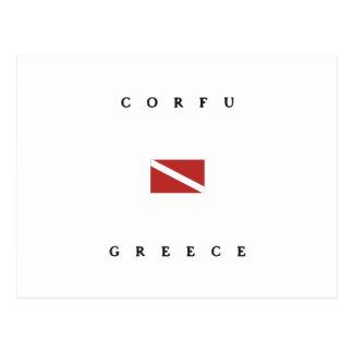 Corfu Greece Scuba Dive Flag Postcard